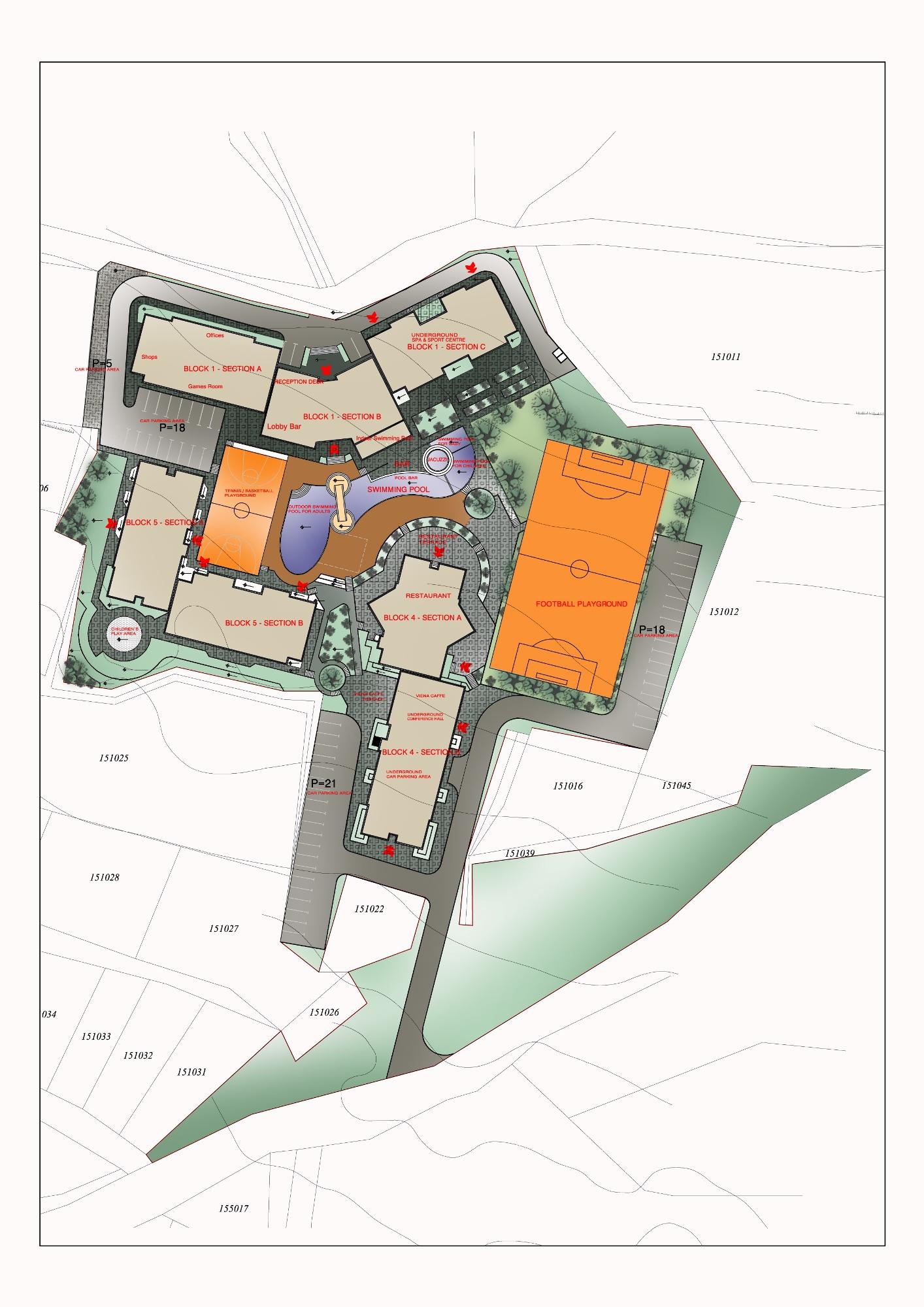 Генерален план: Belvedere Holiday Club —вакнционни жилища в комплекс с всички екстри, до кабинковия лифт на Банско
