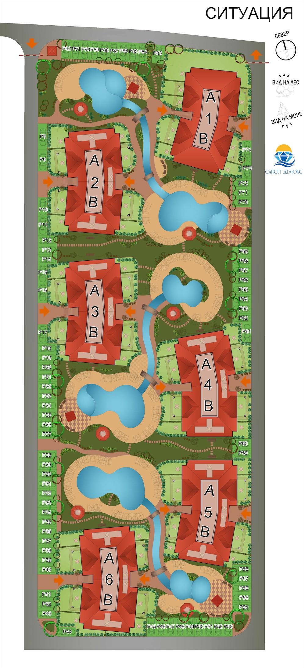 Генерален план: Апартаменти в Sunset Deluxe Кошарица до морето и планината