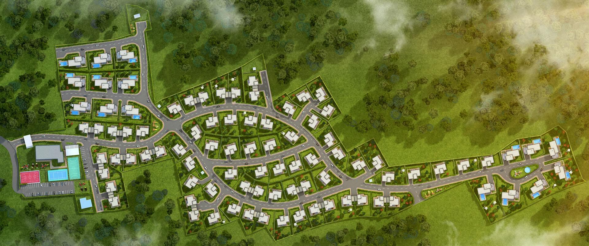 Генерален план: Комплекс от къщи с басейн и двор в полите на Родопите до Пловдив