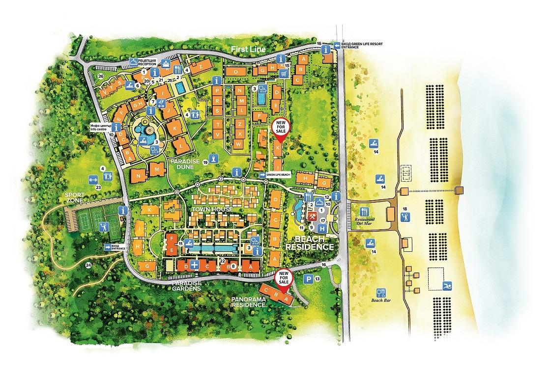 Генерален план: Green Life Beach Resort Town Houses - къщи на първа линия
