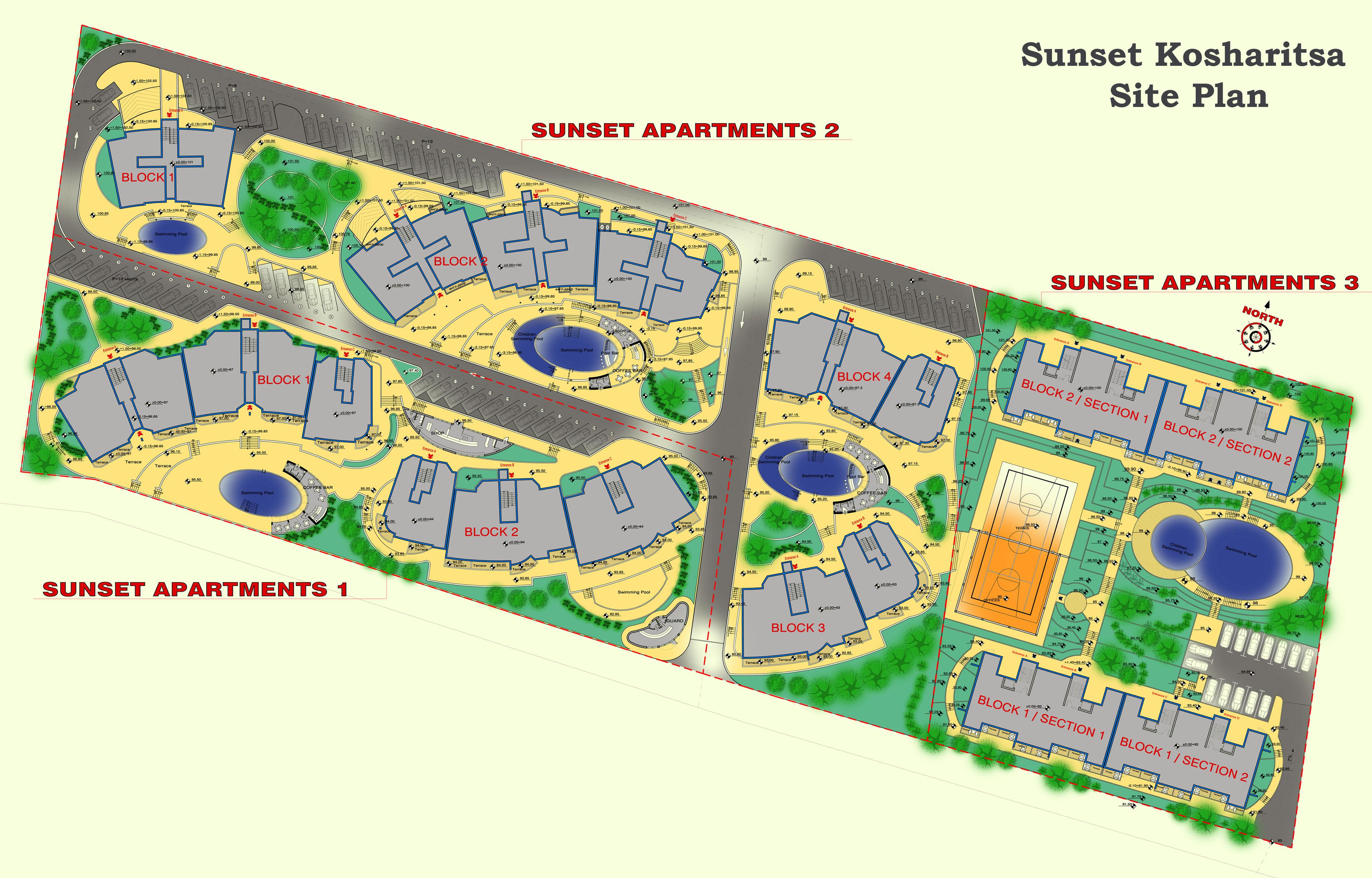 Генерален план: Sunset Kosharitsa - aпартаменти в атрактивен комплекс сред планината и морето, близо до Слънчев бряг