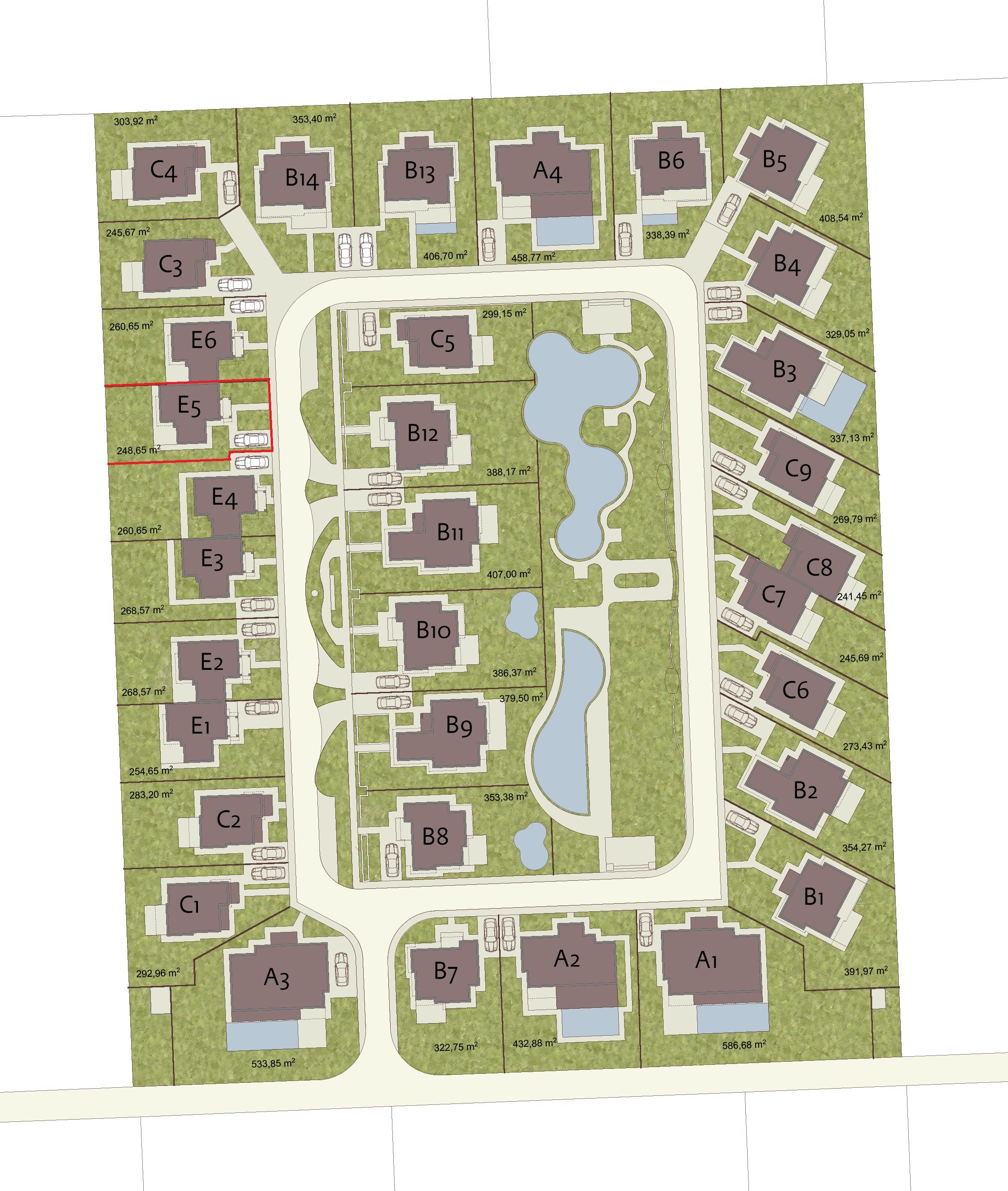 Генерален план: Къщи в луксозно вилно селище с панорама море сред лозовите масиви на Поморие