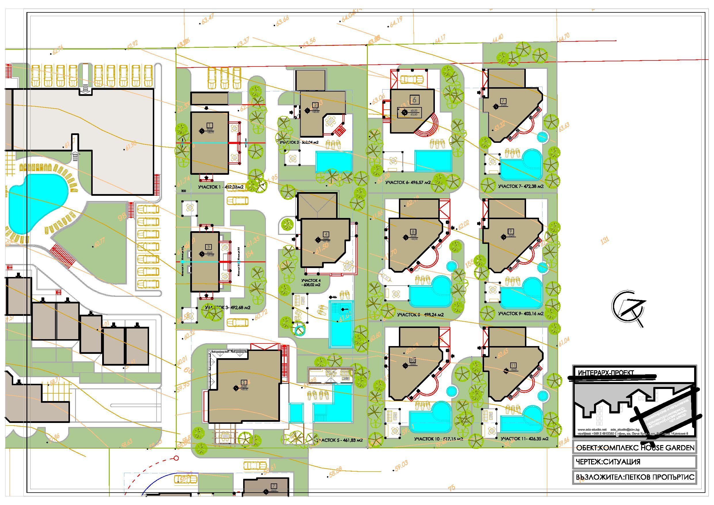 Генерален план: Нови вили в комплекс Хаус Гардън в тиха местност