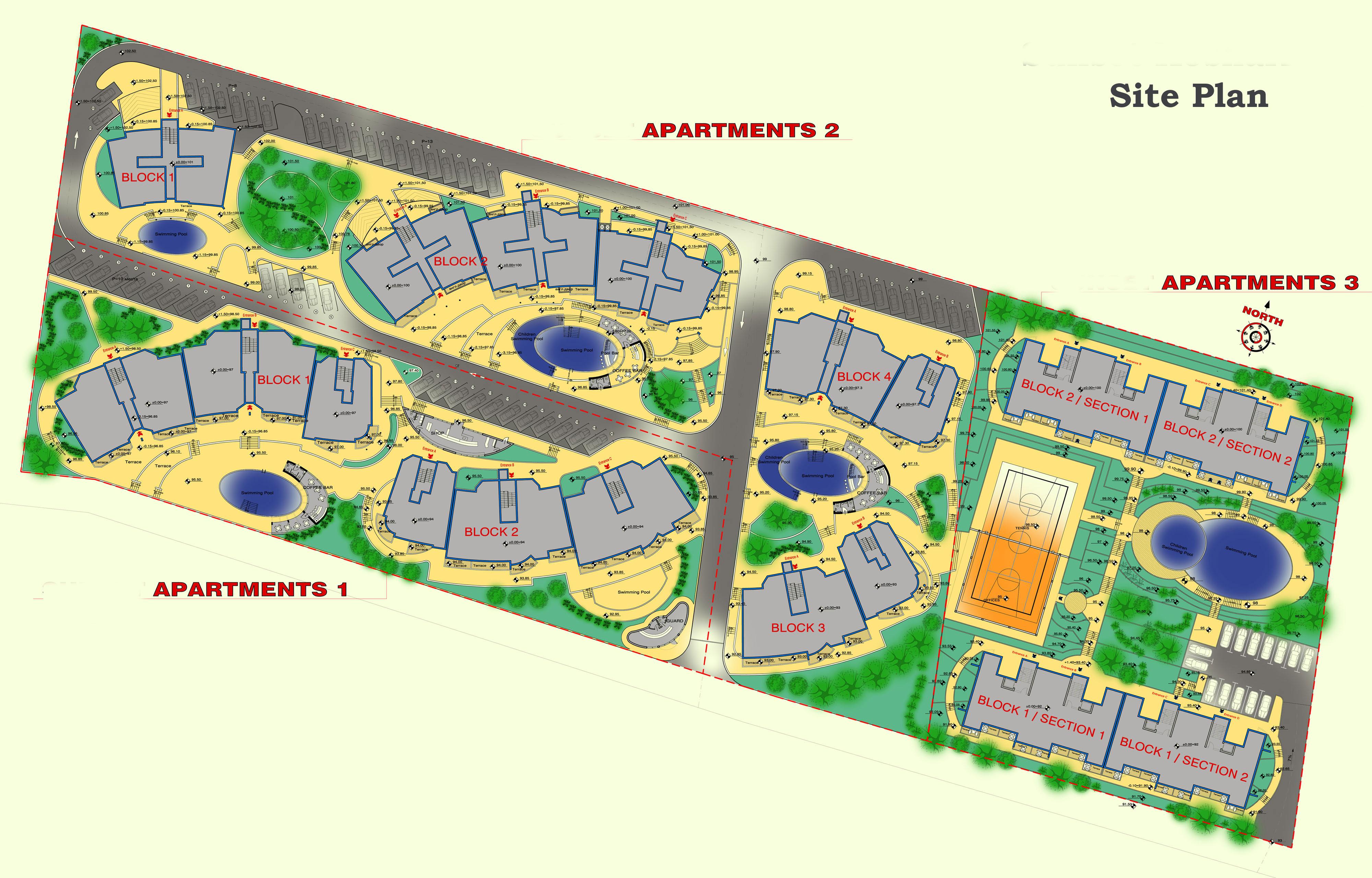 Генерален план: Затворен комплекс с апартаменти и къщи до море и планина