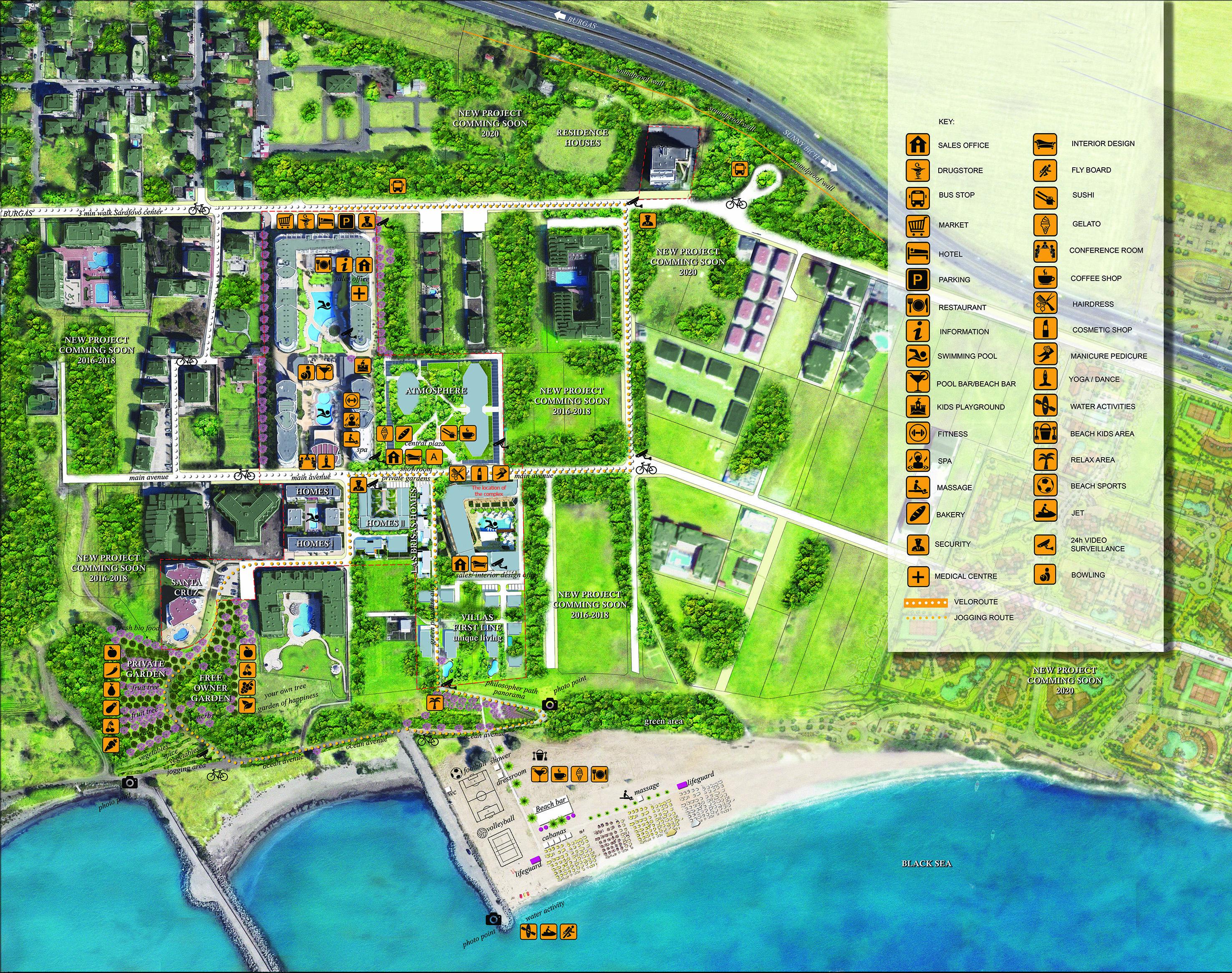 Генерален план: Модерни къщи ново строителство на първа линия на морето в Сарафово