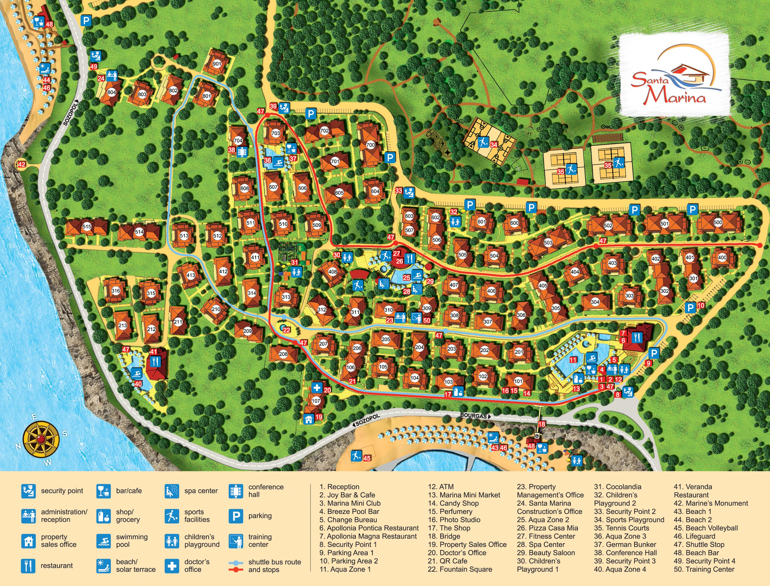 Генерален план: Луксозни апартаменти в отличен затворен комплекс на морето
