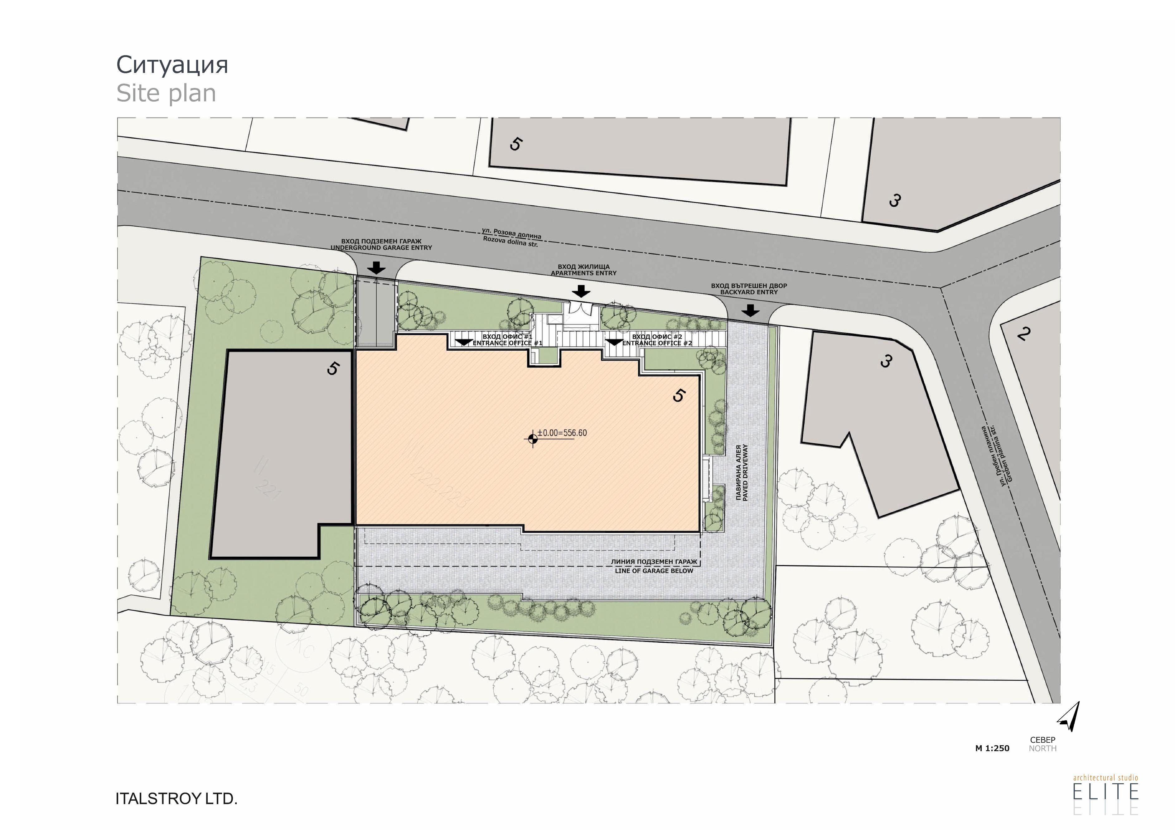 Генерален план: Елегантна жилищна сграда сред зеленина, в елитен квартал на София