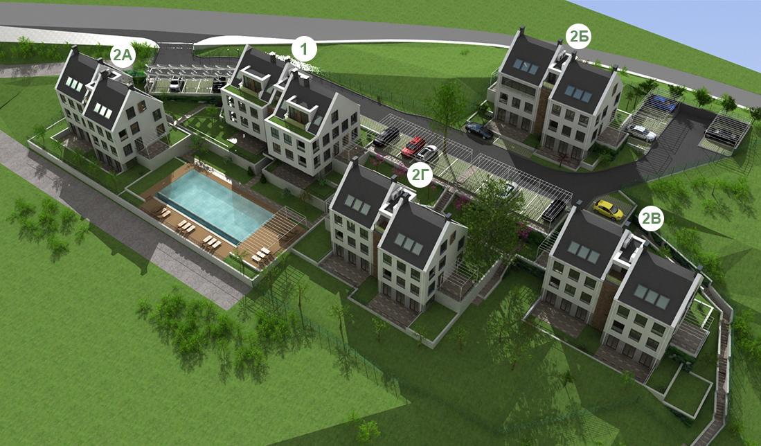 Генерален план: Апартаменти в 5 многофамилни къщи в зелен район