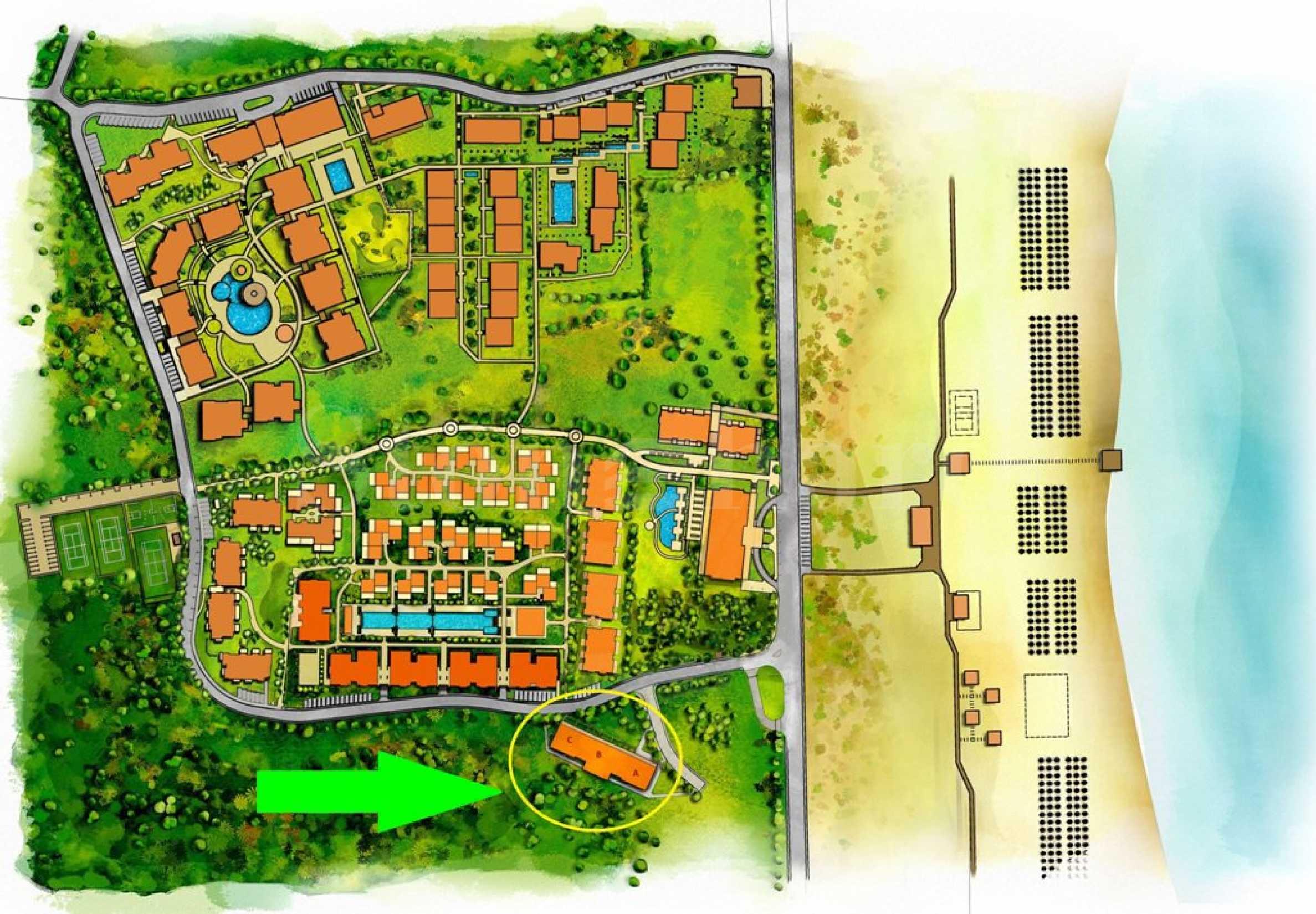 Генерален план: Премиум апартаменти на първа линия на