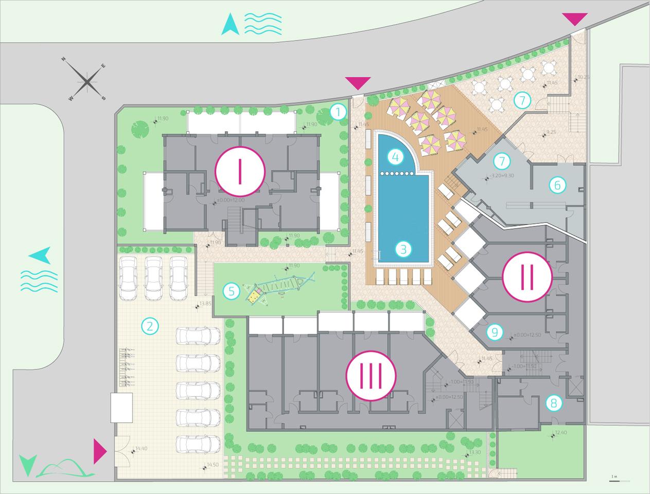 Генерален план: Апартаменти в готов целогодишен комплекс до два плажа