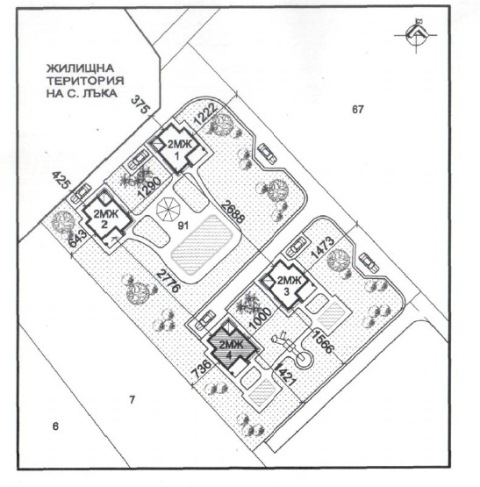 Генерален план: Къщи в комплекс ново строителство в с. Лъка, до Поморие и Бургас